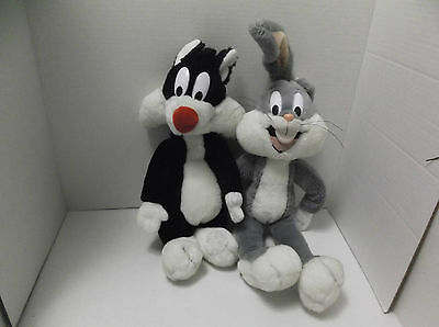 """16"""" Plush Bugs Bunny 50th Birthday Special Ediition 24K Gold 1990 Sylvester Lot"""