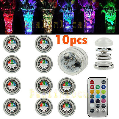 10x LED Remote Control Multicolor Submersible Party Vase Light Waterproof LD966