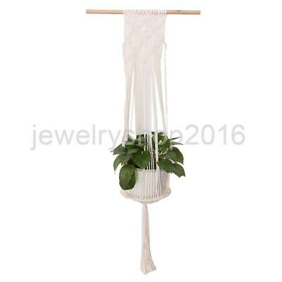 Handcrafted Macrame Plant Holder Flowerpot Hanger Basket with Wooden Dowel