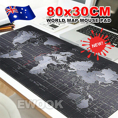 80 x 30cm Large World Map Mousepad Game Laptop Computer Mouse Keyboard Pad Mat