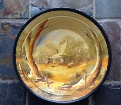 Hand Painted Gold Pan Australian Country Homestead Antique Gold Mining RARE!