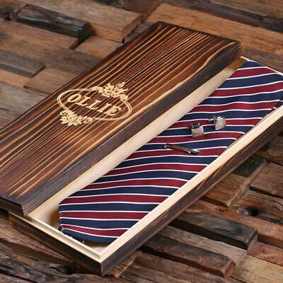 Personalised Men's Tie Gift Set with Cuff Links, Tie, Tie Clip and Wood Gift Box