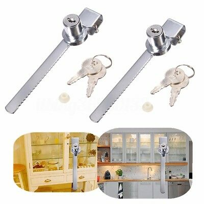 2pcs  Security Display Case Showcase Sliding Glass Cabinet Door Lock with Keys