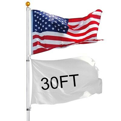 30 ft Telescopic 16 Gauge Aluminum Flag Pole Kit 3'x5' US Flag Ball Fly 2 Flags
