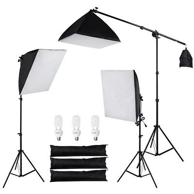 3 Photography Softbox Boom Stand Photo Studio Video Continuous Lighting Photo