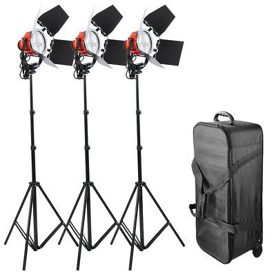 3x 800W 3200K Continuous Lighting Kit Head Dimmable w/Case Studio Video Film Red