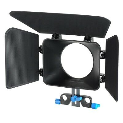 Matte Box for DSLR Cameras Camcorders 15mm Rod Support Rig Sunshade Swing-Away