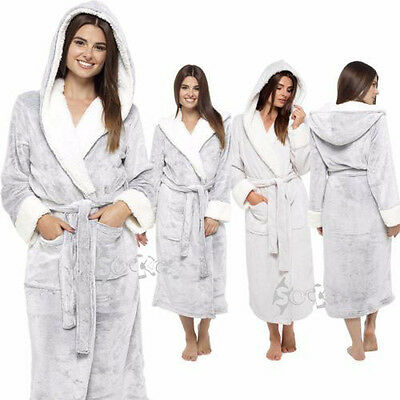 Ladies Super Soft Shimmer Fleece Robe,Plush Hooded Dressing Gown, 8-22, LN526B