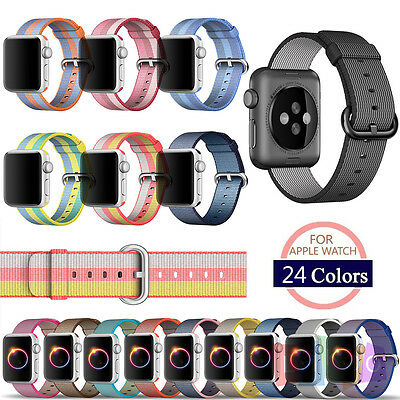 New Sports Royal Woven Nylon Wrist Band Strap Bracelet For Apple Watch 38mm/42mm
