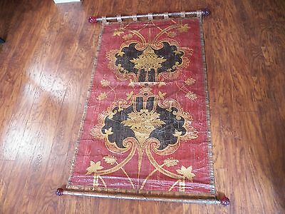 Antique Tapestry With Beautiful Studs & Red Resin Ended Rods