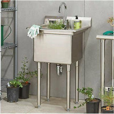 Commercial Kitchen Utility Sink w/Faucet, NO TAX, Indoor/Outdoor