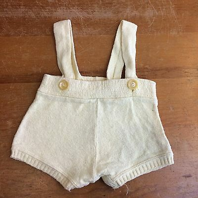 Boys 2T Vintage 40s Terry Cotton Canary Yellow Romper Overalls Shorts