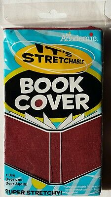 Fabric Book Cover.  Super Stretchy and Washable. Burgundy/red/wine color.