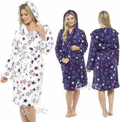 Ladies Star Print Soft Coral Fleece Robe, Hooded Dressing Gown, 8-22, LN515