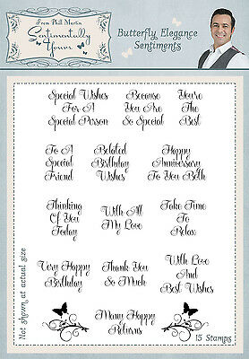 Butterfly Elegance Sentiments Clear Stamp Set by Phill Martin