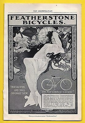 1901 FEATHERSTONE BICYCLE Print Ad ~ THE NEW CENTURY CANARY MODEL