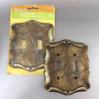 1 Of 2 Vintage Amerock Decorative Metal Double Switch Plate Covers Brass