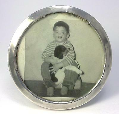 "Antique hallmarked 10cm (4"") Round Silver-fronted Wood Photo Frame - 1910"