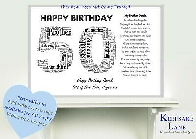 Personalised Special Brother Poem Word Art 40 50 60 40th Birthday Gift Present