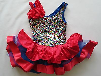 Girls Curtain Call Red & Blue Sequin Dance Costume Size Childs Small 2 Pc