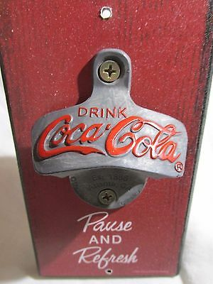 New Coca Cola Coke Bottle Opener Stationary Wall Mount Old Vintage Style-NEAT!