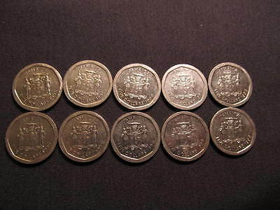 (10) Jamaican Coins -  $50 Face Value-10 Jamaican $5 Coins Included In The Lot