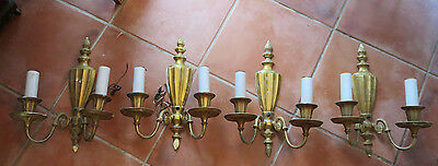 4 Antique Wall Sconces Lamps French Victorian Bronze Torch Neo-Classic