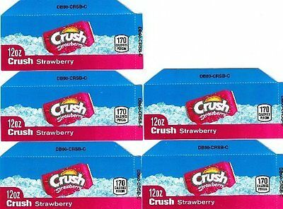 Strawberry Crush Labels 5 Small 12oz Can Vending Machine Calories Labels