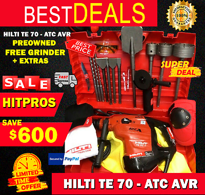 Hilti Te 70 Atc Avr, Preowned, Free Grinder, Bits, Chisels, Extras, Fast Ship