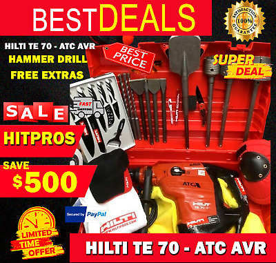 Hilti Te 70 Atc Avr, Preowned, Free Knife Set, Bits, Chisels, Extras, Fast Ship