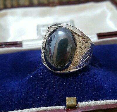 Native American Solid Silver Men's Signet Ring,large Hematite Gemstone, Size R