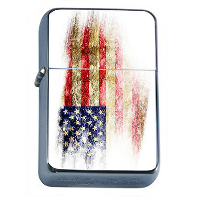 American Flag D15 Windproof Dual Flame Torch Lighter Refillable