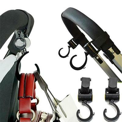 2x Portable Hook Stroll Pushchair Pram Shopping Bag Hooks Black New C