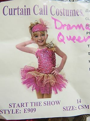 "Girls Curtain Call ""start The Show"" Dance Costume & Hat Size Childs Sm"