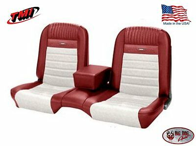 Deluxe PONY Seat Upholstery Ford Mustang Convert Front/Rear Bench - Red & White