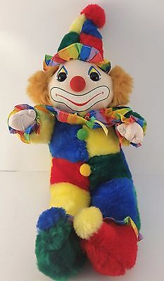 Rainbow Clown Plush Cuddle Wit Circus Primary Colors Smiling Vintage Stuffed Toy