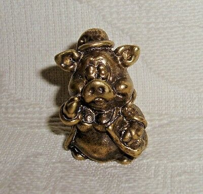 Russian Сollectible Decorative Brass Thimble Piglet