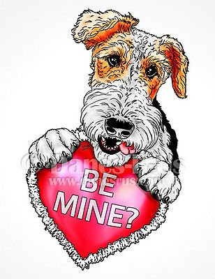 Wire Fox Terrier Be Mine Heart Valentines Dog Art Greeting Note Cards Set of 10
