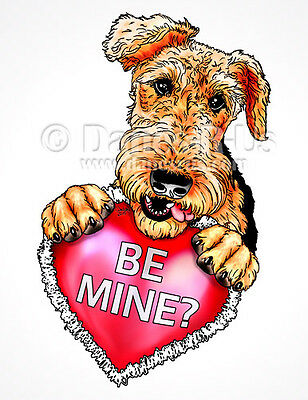Airedale Terrier Be Mine Heart Valentines Dog Art Greeting Note Cards Set of 10