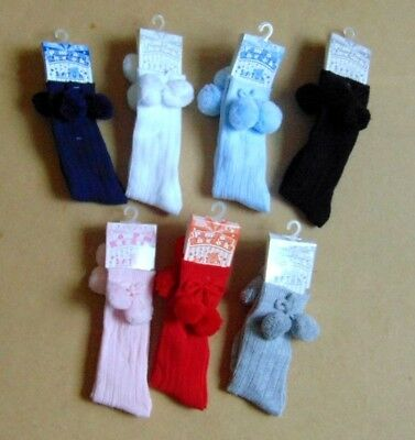 baby knee high spanish style pom pom socks