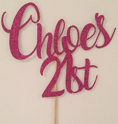 Personalised Custom Birthday Party Cake Topper Twenty One 21st Add Your Name