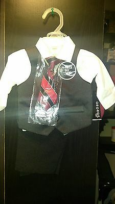 NEW BABY BOY CHILDREN FORMAL TUXEDO SUIT W/  RED TIE : NewBorn 4 piece set