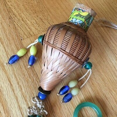 Antique A.A. Vantine Asian Import wicker potpourri hanging basket/glass beads