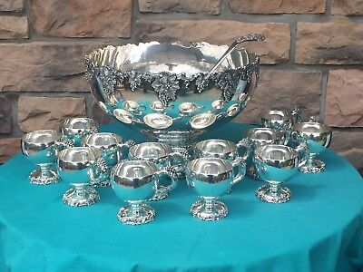 Silverplate Punchbowl Set VINTAGE Grape Pattern Webster Wilcox / International