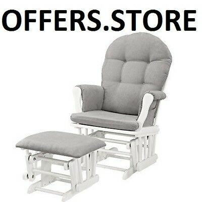 Home Furniture Glider And Ottoman Metal Bearings Storage Pockets White Gray New