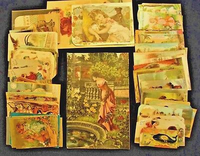 Vintage 1800's VICTORIAN advertisment trade cards LOT OF 73