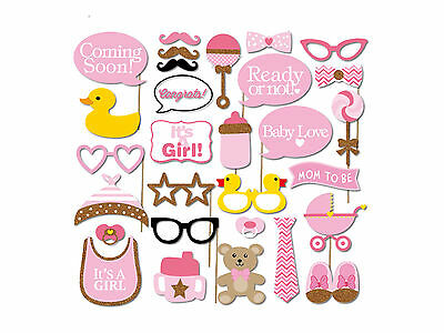 29pcs Photo Booth Party Props Coming Soon Baby Love It's a Girl Pink Funny DIY