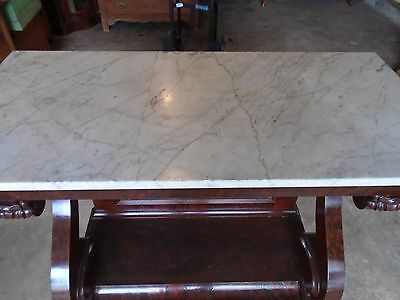 Walnut White Marble Hall Stand With Claw Feet
