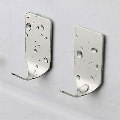 8Pcs Self-Adhesive Bathroom Stainless Steel 3M Sticky Hooks Kitchen Wall Hanger
