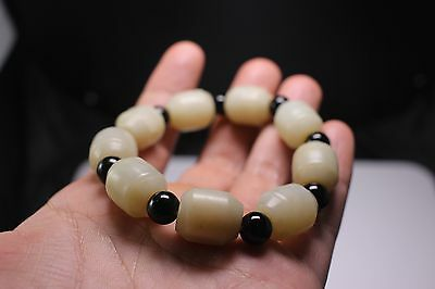 Antique Chinese White He Tian Jade Bracelet